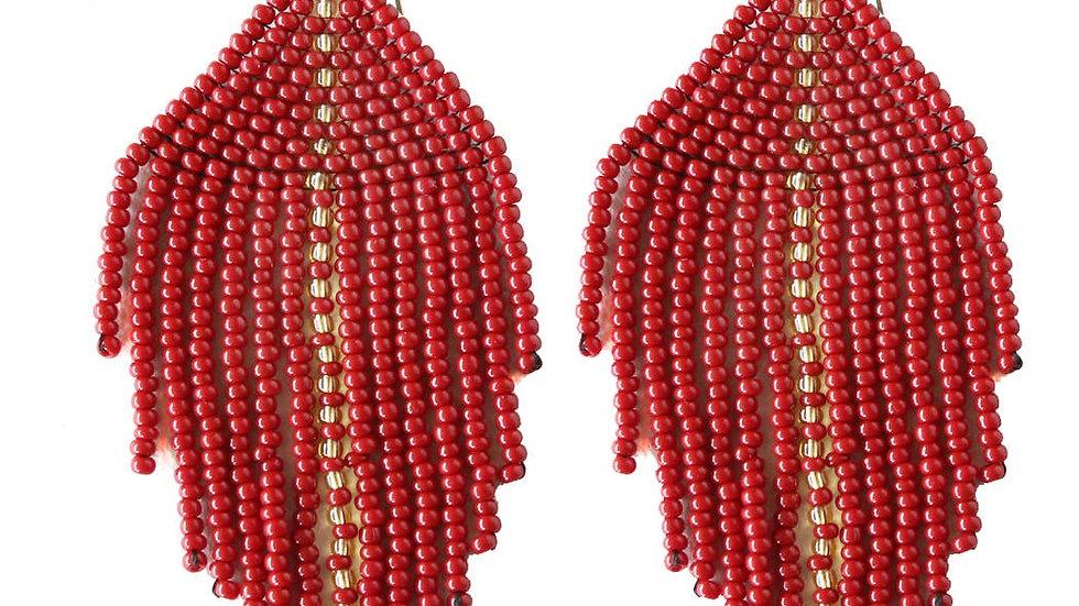 Raya Beaded Earrings Wine