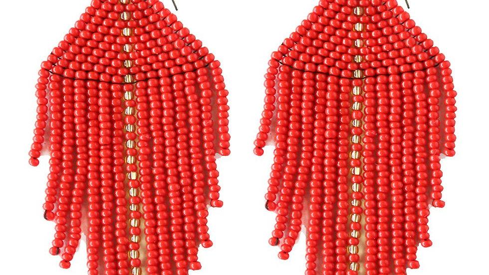 Raya Beaded Earrings Red