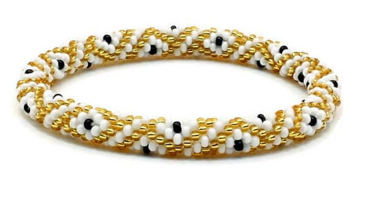 Golden White with Black Dots Bracelet