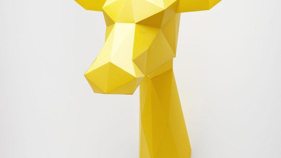 Giraffe Wall Trophy Yellow