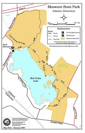 Moween State Park Red Cedar Lake Map
