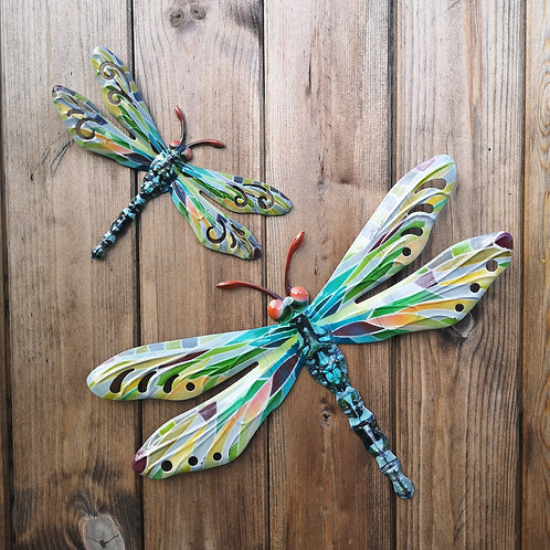 Green Dragonfly Metal Wall Plaque