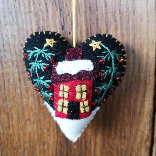 Christmas House Heart Decoration