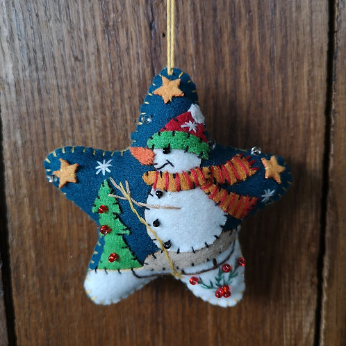 Blue Star Snowman Decoration