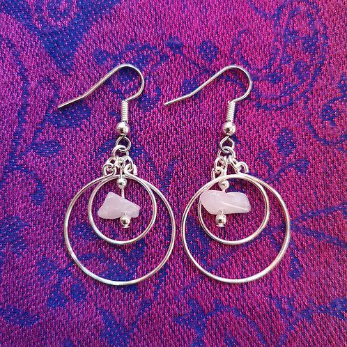 Libra Rose Quartz Circles Earrings