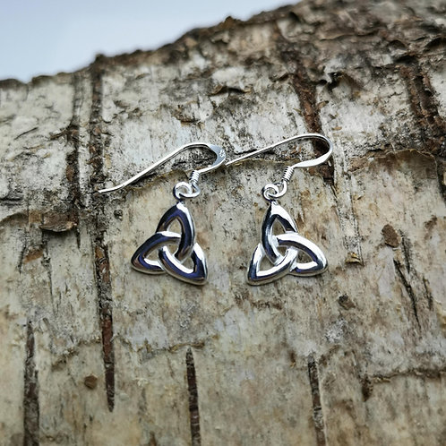 Celtic Triquetra Silver Drop Earrings