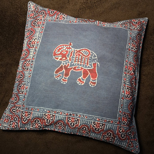 Block Print Elephant Cushion Cover