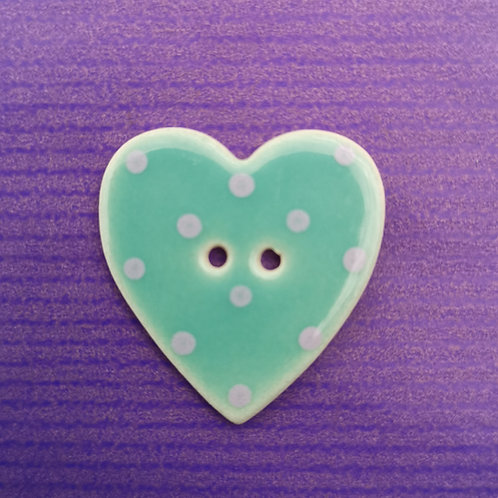 Green Ceramic Heart Button