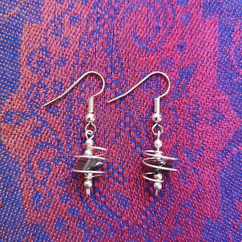 Leo Hematite Spiral Earrings