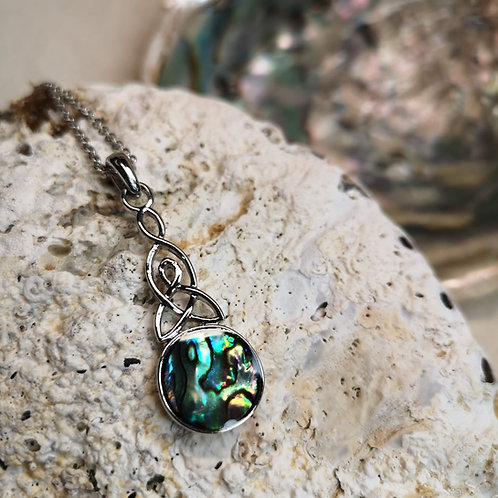 Paua Shell Celtic Pendant