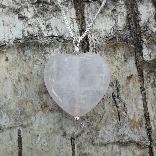 Silver Rose Quartz Pendant