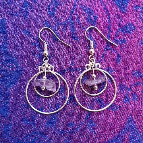 Aquarius Amethyst Circles Earrings