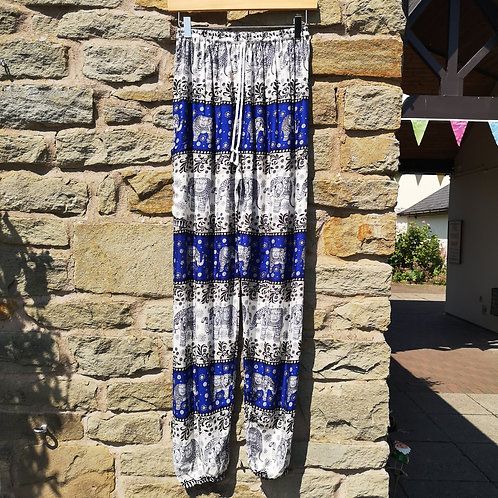Blue & White Elephant Trousers