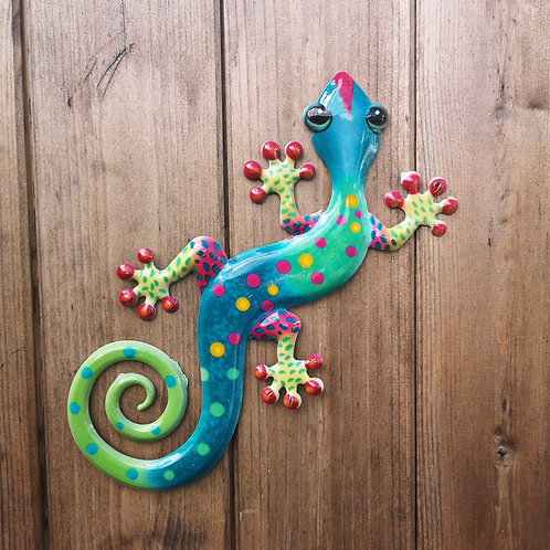 Green Gecko Metal Wall Plaque