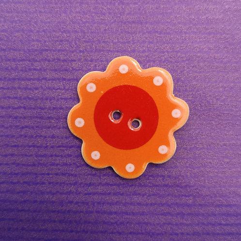 Orange Flower Ceramic Button