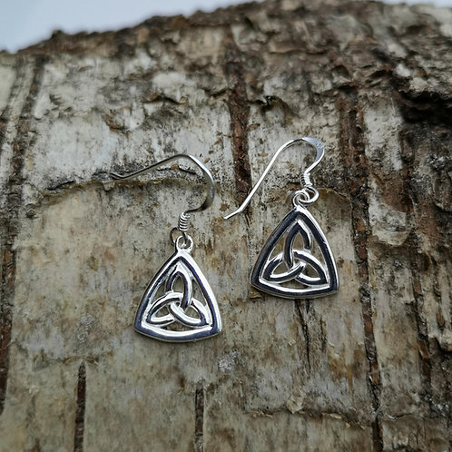 Celtic Triquetra Silver Drop Earrings