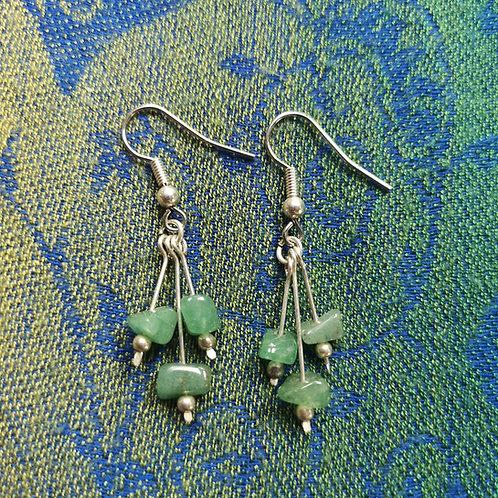 Cancer Green Aventurine Triple Drop Earrings
