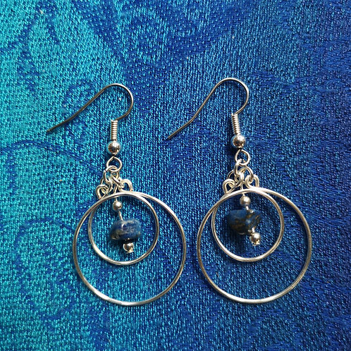 Taurus Lapis Lazuli Circles Earrings