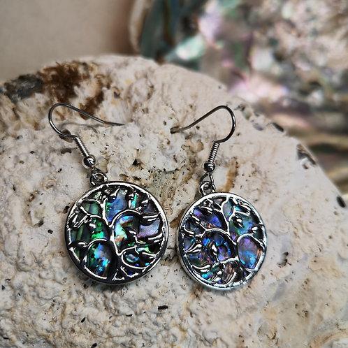 Paua Shell Round Tree Earrings