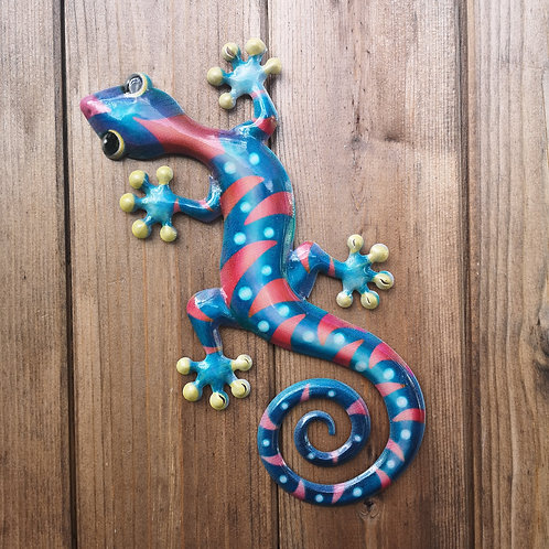 Red Gecko Metal Wall Plaque