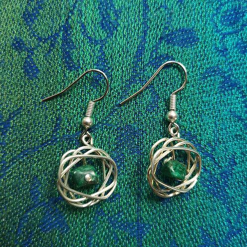 Sagittarius Malachite Squiggle Earrings