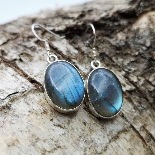 Silver Labradorite Earrings