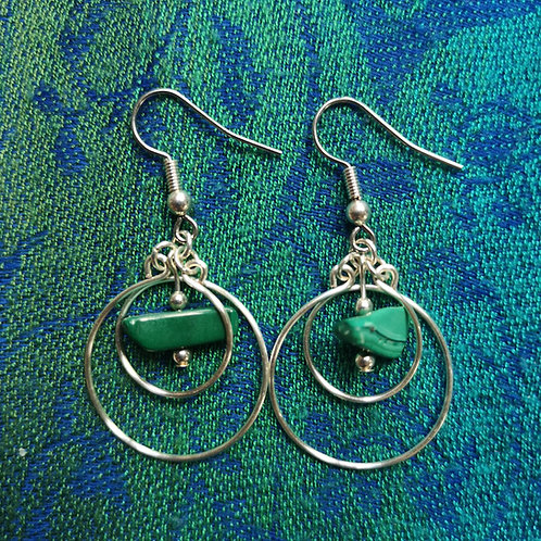 Sagittarius Malachite Circles Earrings
