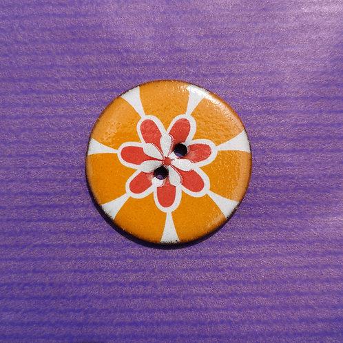Orange Sunburst Ceramic Button