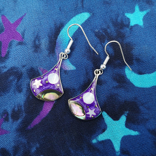 Purple Moon and Star Earrings