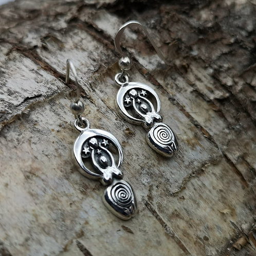 Goddess Gaia Silver Earrings