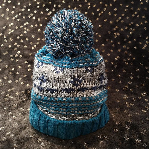 Child's Blue Bobble Hat