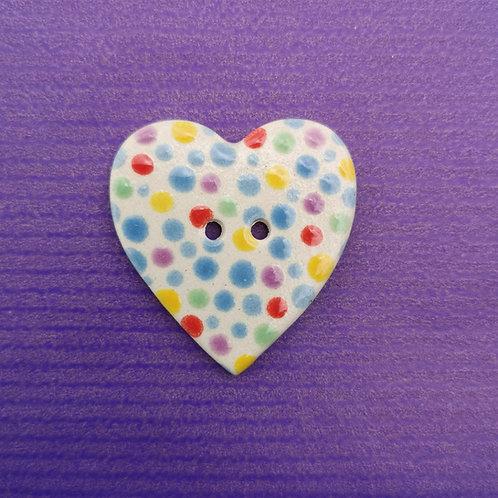 Multicoloured Dotty Ceramic Heart Button