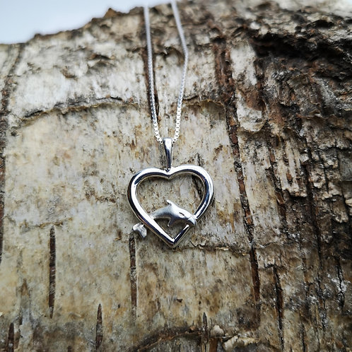 Dolphin Heart Silver Pendant
