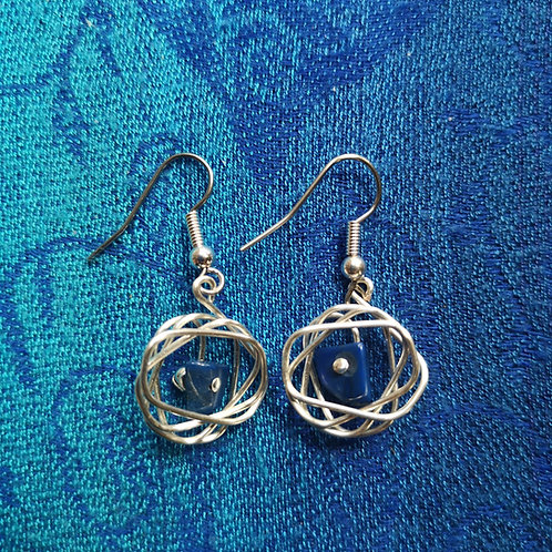 Taurus Lapis Lazuli Squiggle Earrings