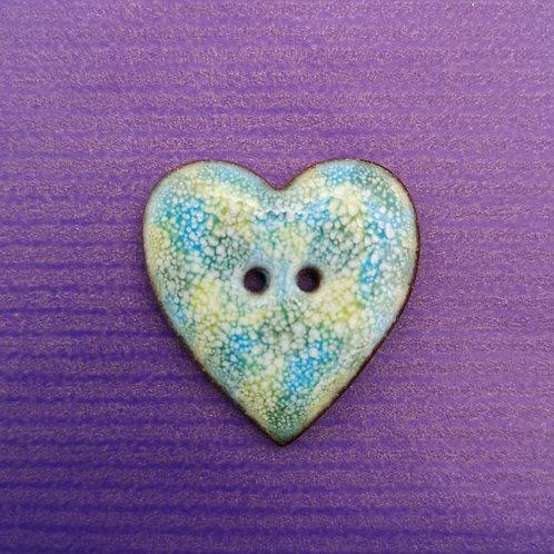 Blue & Green Ceramic Heart Button