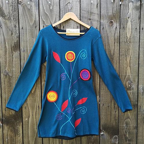Blue Swirly Flower Top/Dress
