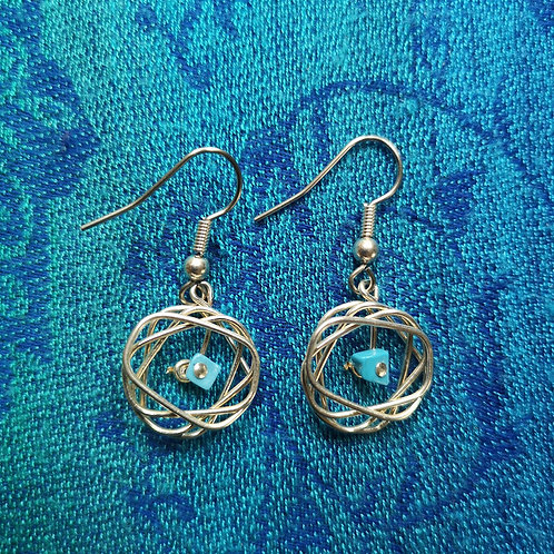 Pisces Turquoise Squiggle Earrings