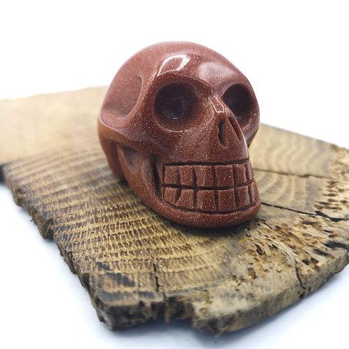 Brown Goldstone Skull