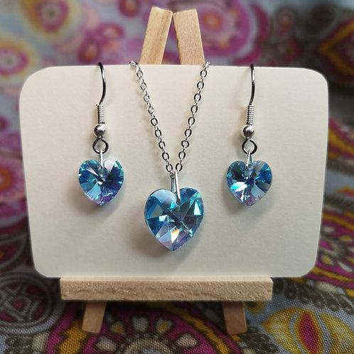 'Aquamarine' Swarovski Heart Jewellery Set