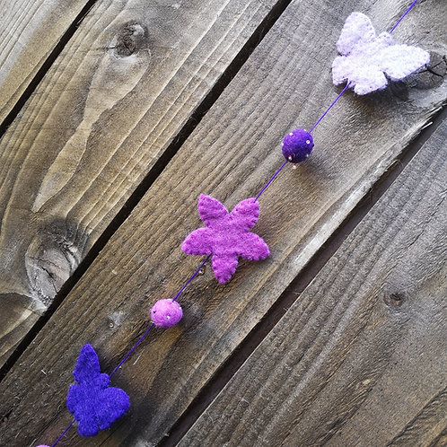 Purple Butterflies & Flowers Hanging Decoration