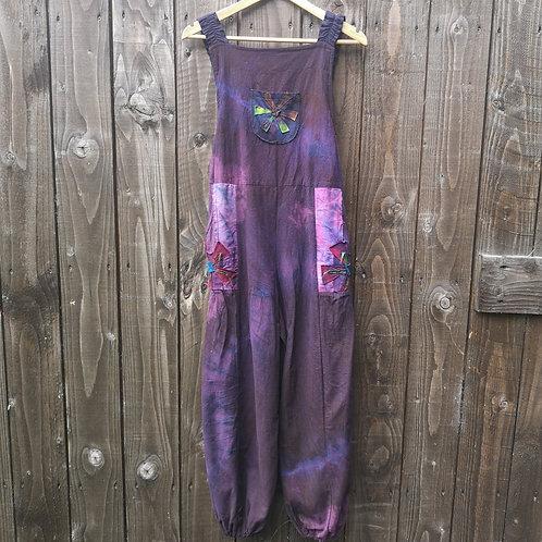 Purple Flower Dungarees