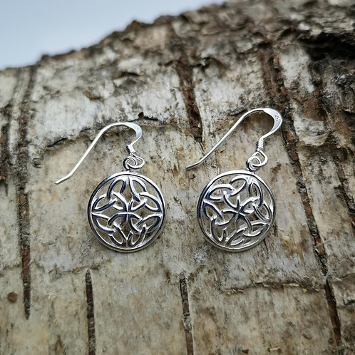 Celtic Knot Silver Drop Earrings