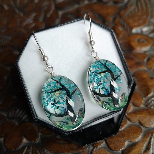 Turquoise Blossom Tree Earrings