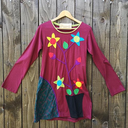 Burgundy Flower Top/Dress