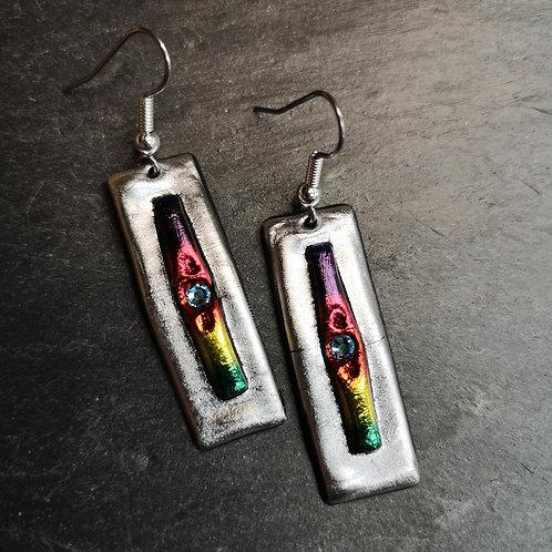 Silver Rainbow Earrings