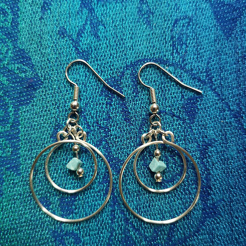 Pisces Turquoise Circles Earrings