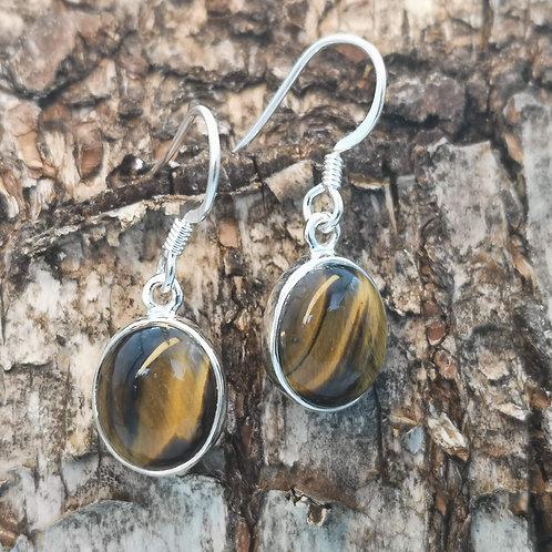 Silver Tiger Eye Earrings
