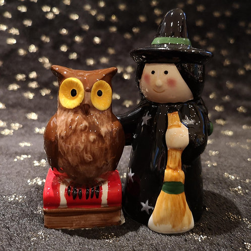 Witch and Owl Salt and Pepper Set
