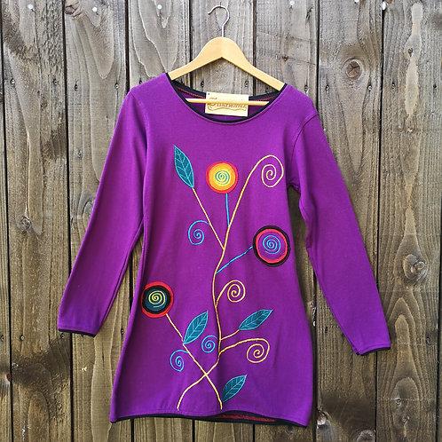 Purple Swirly Flower Top/Dress