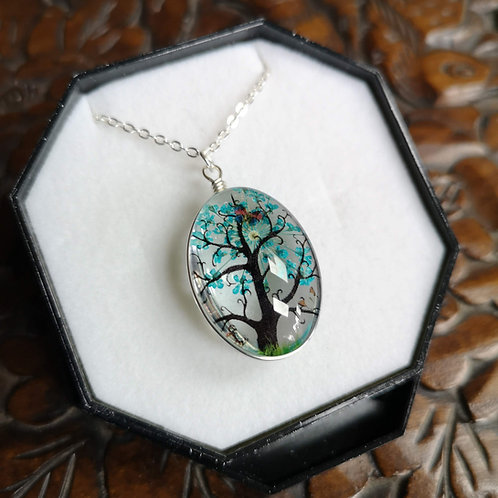 Turquoise Blossom Tree Pendant Small